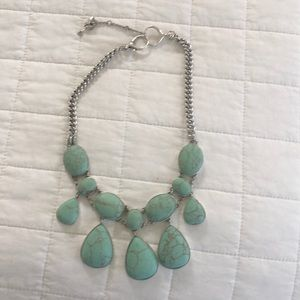 Fossil turquoise statement necklace